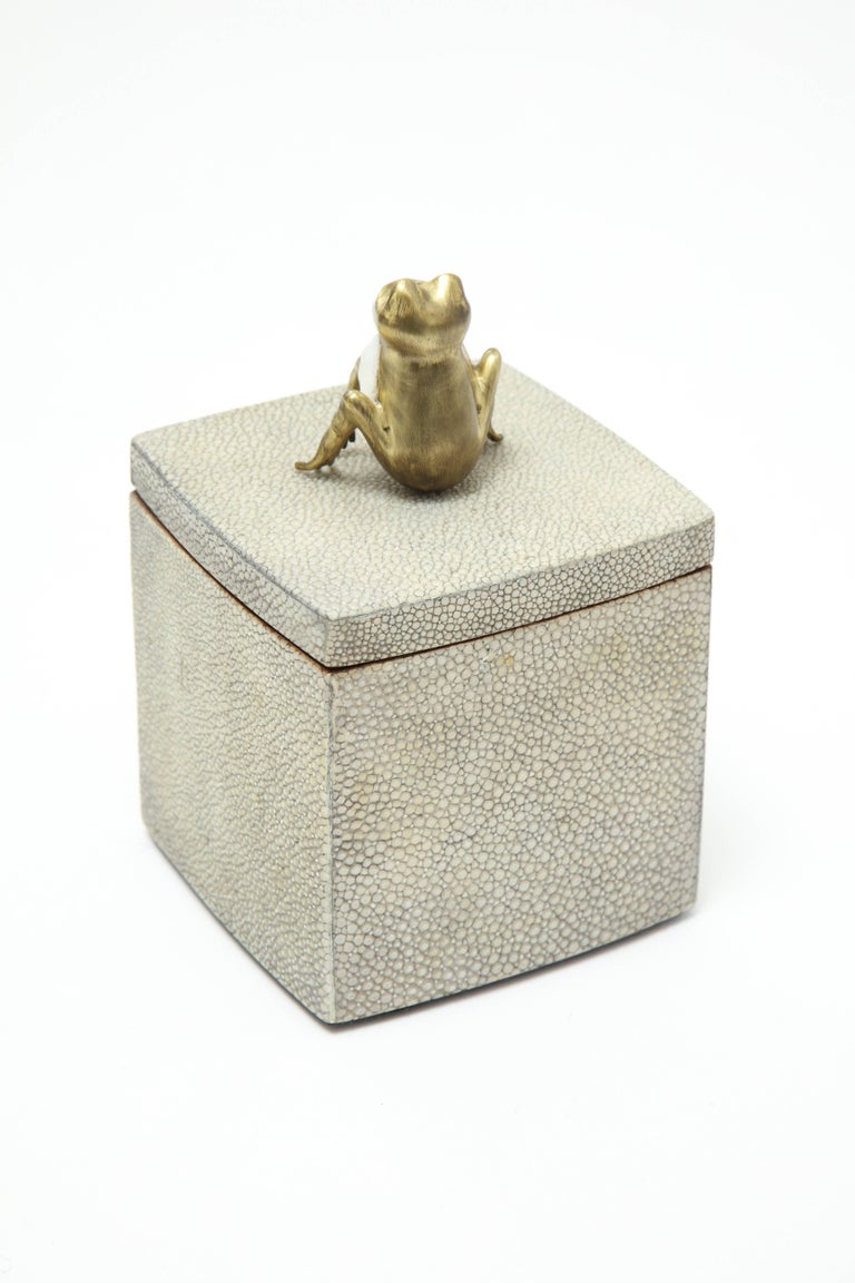 Hand-Crafted Shagreen Box with Decorative Frog Offered by Area ID For Sale