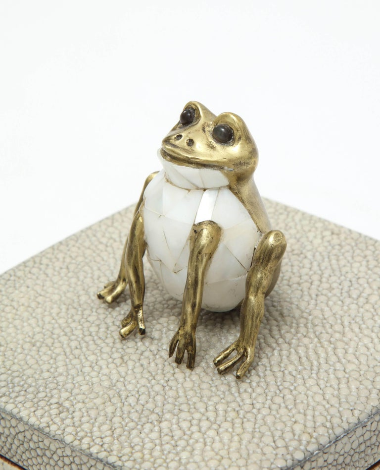 Contemporary Shagreen Box with Decorative Frog Offered by Area ID For Sale