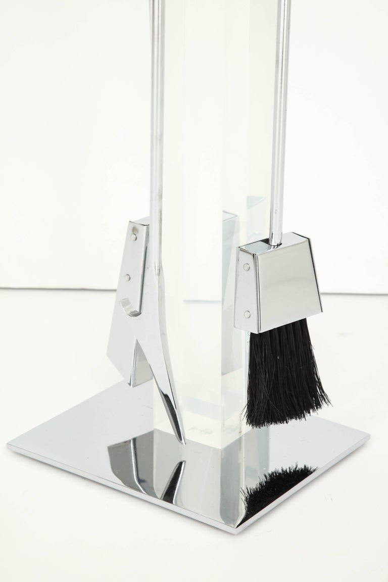 Mid-Century Modern Fire Place Tools, Lucite and Chrome, circa 1960 For Sale