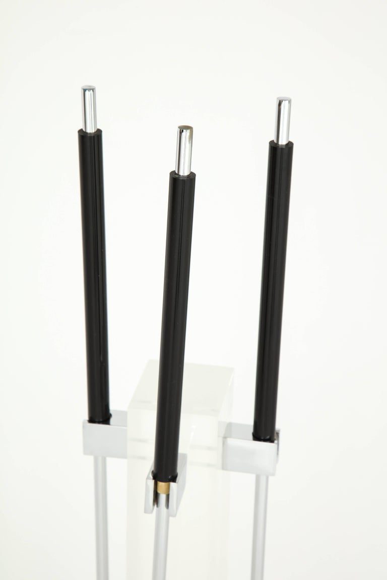 American Fire Place Tools, Lucite and Chrome, circa 1960 For Sale
