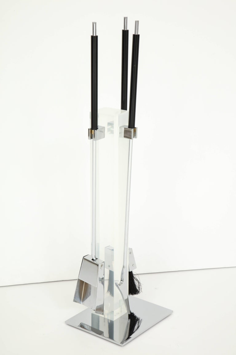 Polished End Iron, Lucite and Chrome, circa 1960 For Sale