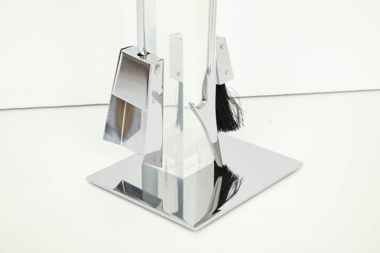 Fire Place Tools, Lucite and Chrome, circa 1960 In Excellent Condition For Sale In New York, NY