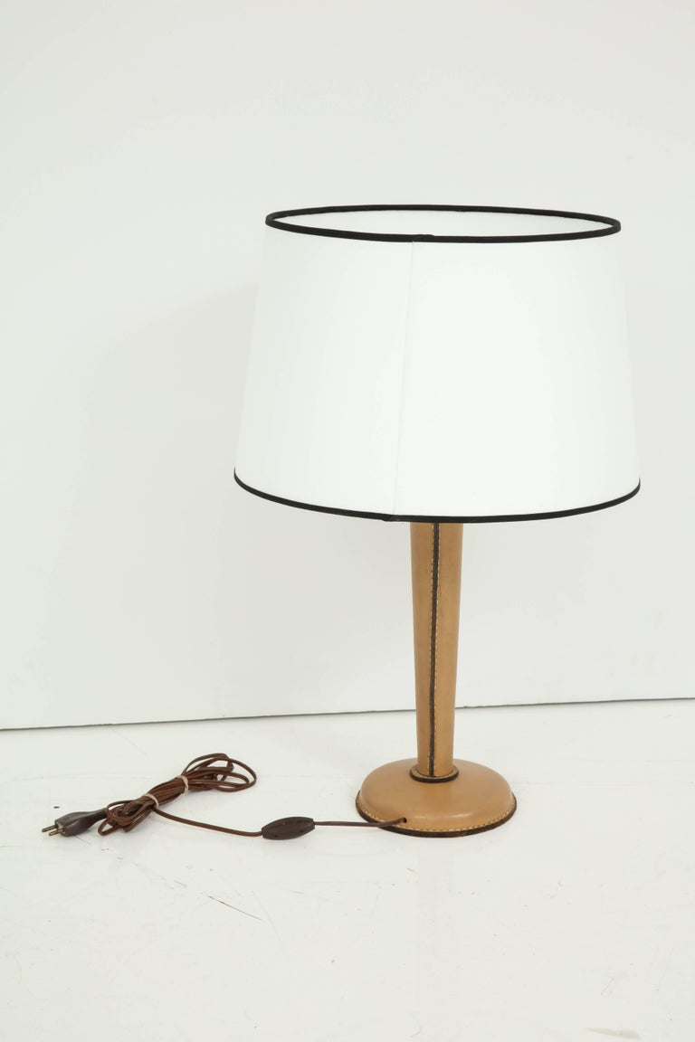 Large Jacques Adnet Table Lamp in Stitched Leather In Good Condition For Sale In New York, NY