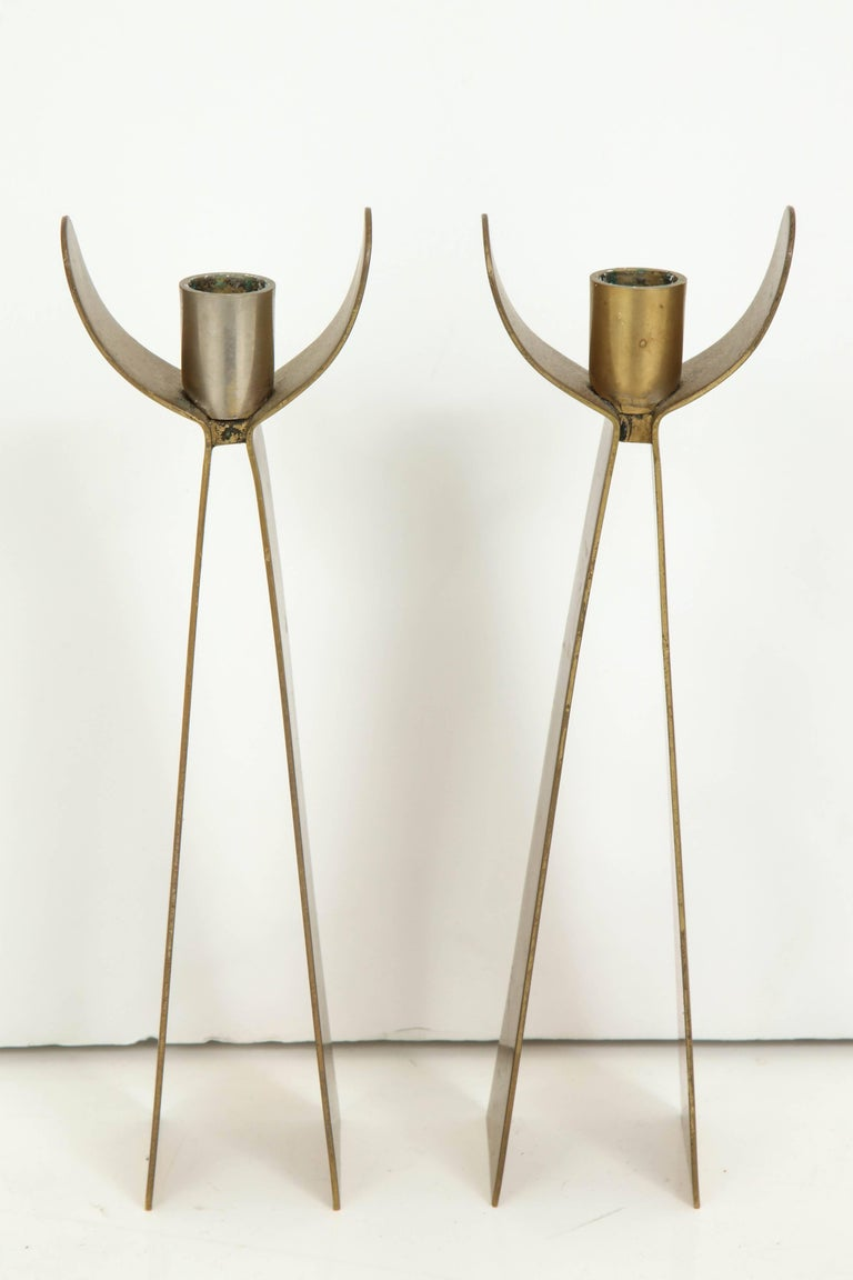 Mid-Century Modern Pair of Danish Brass Candleholders For Sale