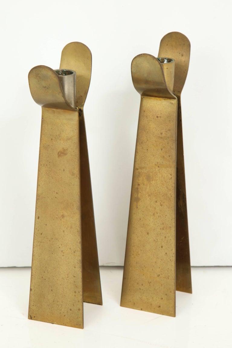 Scandinavian Pair of Danish Brass Candleholders For Sale