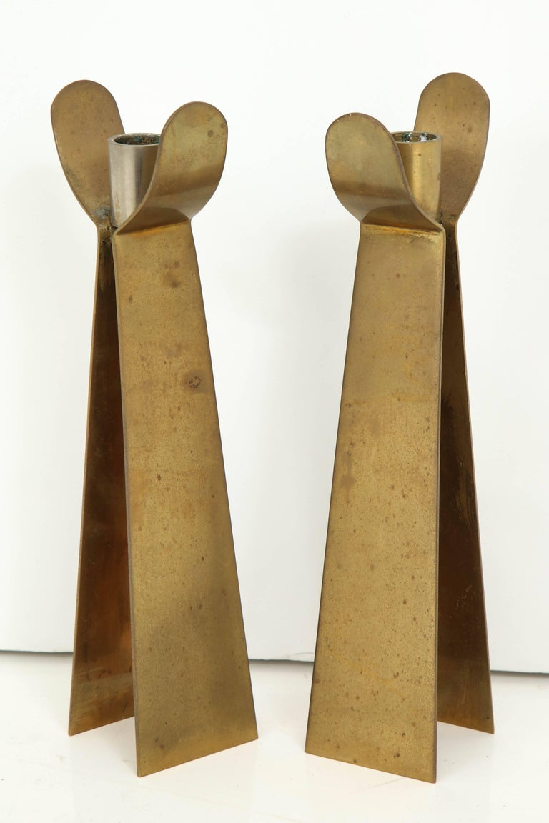 Pair of Danish Brass Candleholders In Good Condition For Sale In New York, NY