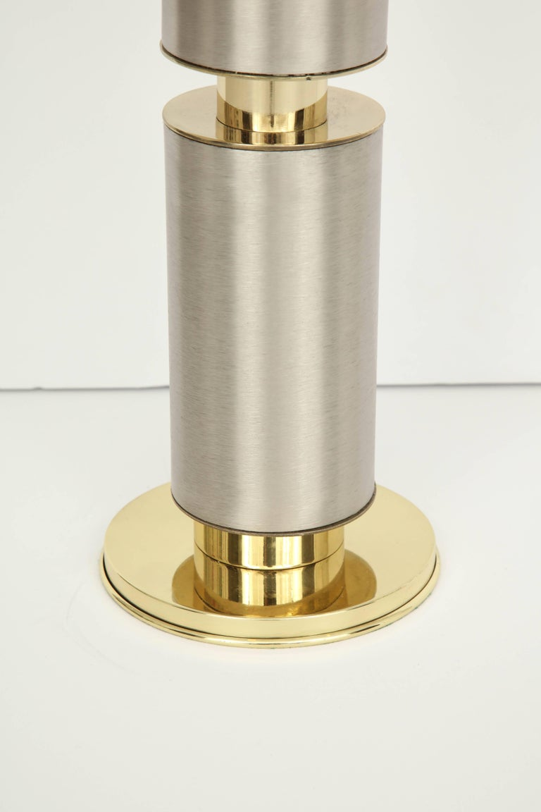 American Laurel Modernist Brushed Steel and Brass Lamps For Sale