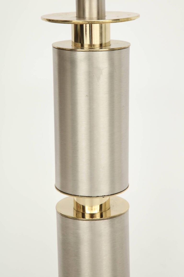 Laurel Modernist Brushed Steel and Brass Lamps In Excellent Condition For Sale In New York, NY