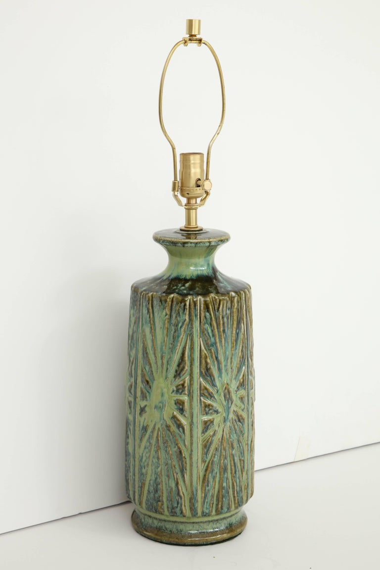 Brass West German Abstract Relief Lamps For Sale