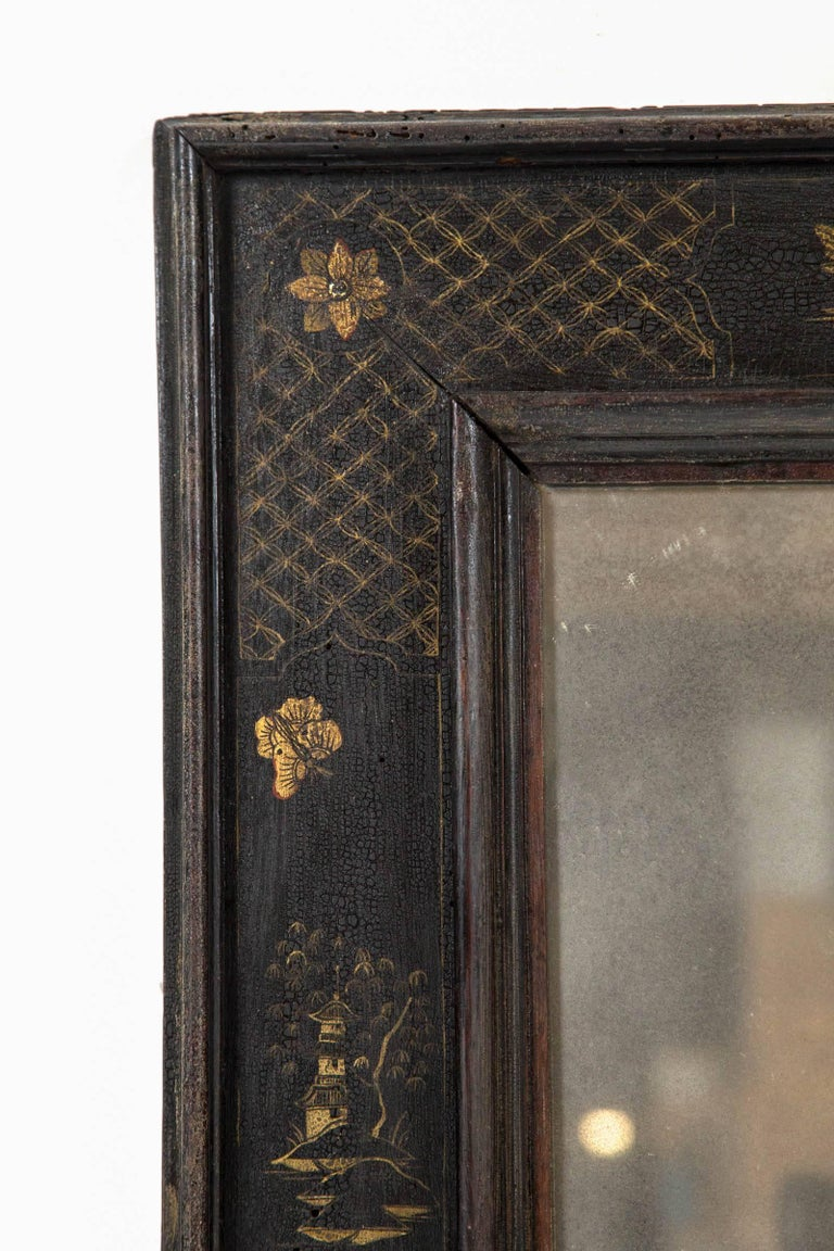 Hand-Painted Pair of European Ebonized Chinoiserie Mirrors, 19th Century For Sale