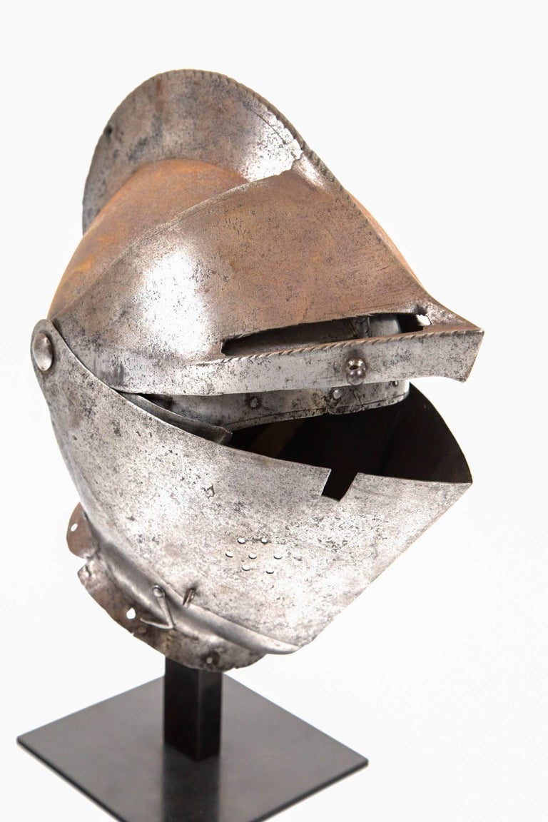 French Antique Chevalier Helmet, France, 16th Century For Sale
