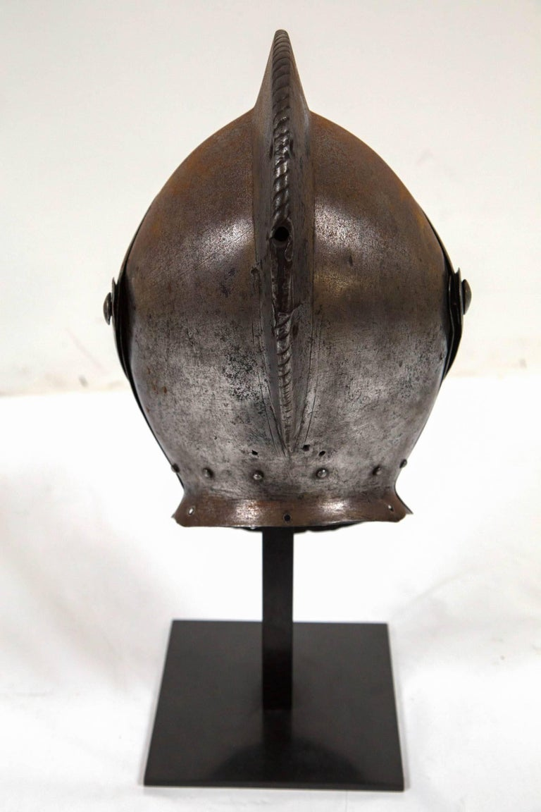 Steel Antique Chevalier Helmet, France, 16th Century For Sale