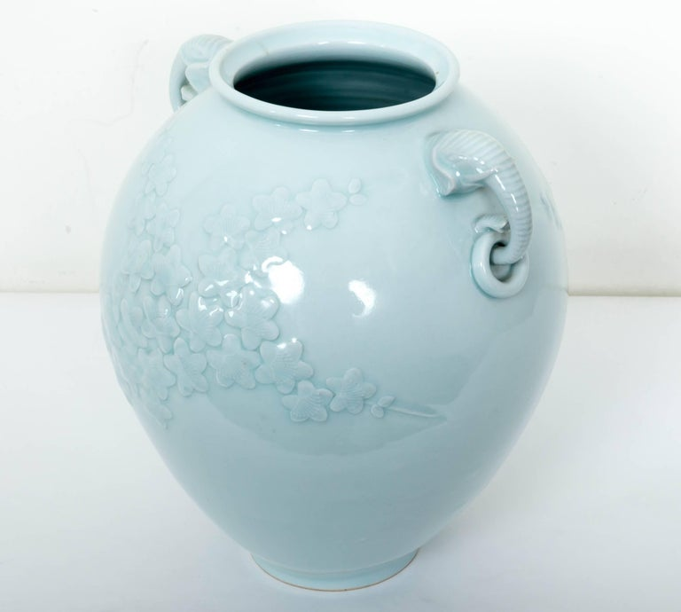 Chinese Celadon Porcelain Vase with Elephant Head Handles In Excellent Condition For Sale In Southampton, NY
