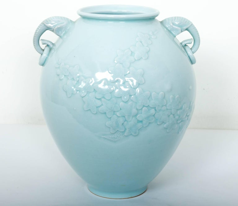 20th Century Chinese Celadon Porcelain Vase with Elephant Head Handles For Sale