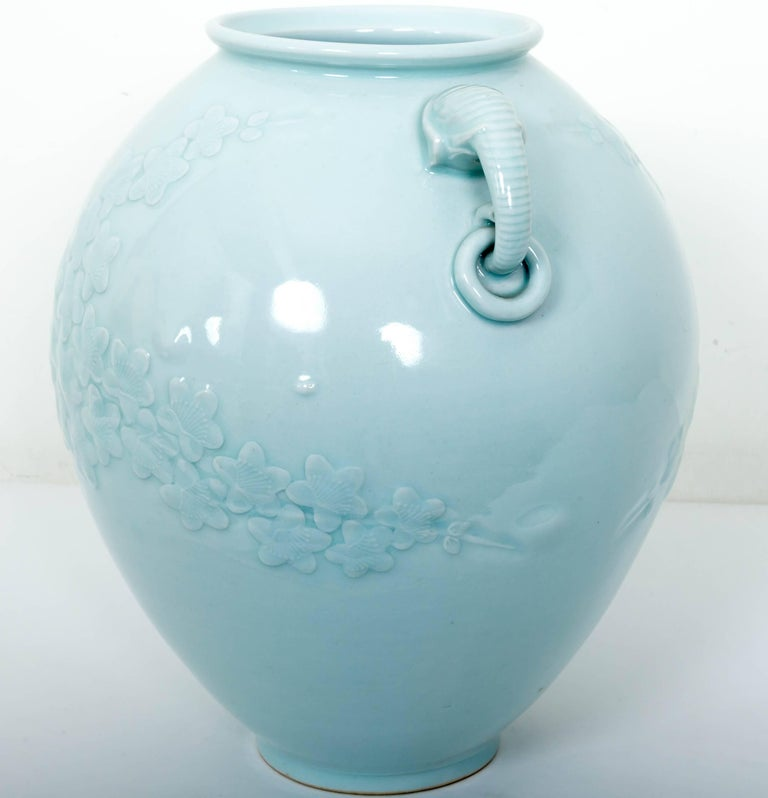 Chinese Celadon Porcelain Vase with Elephant Head Handles For Sale 1