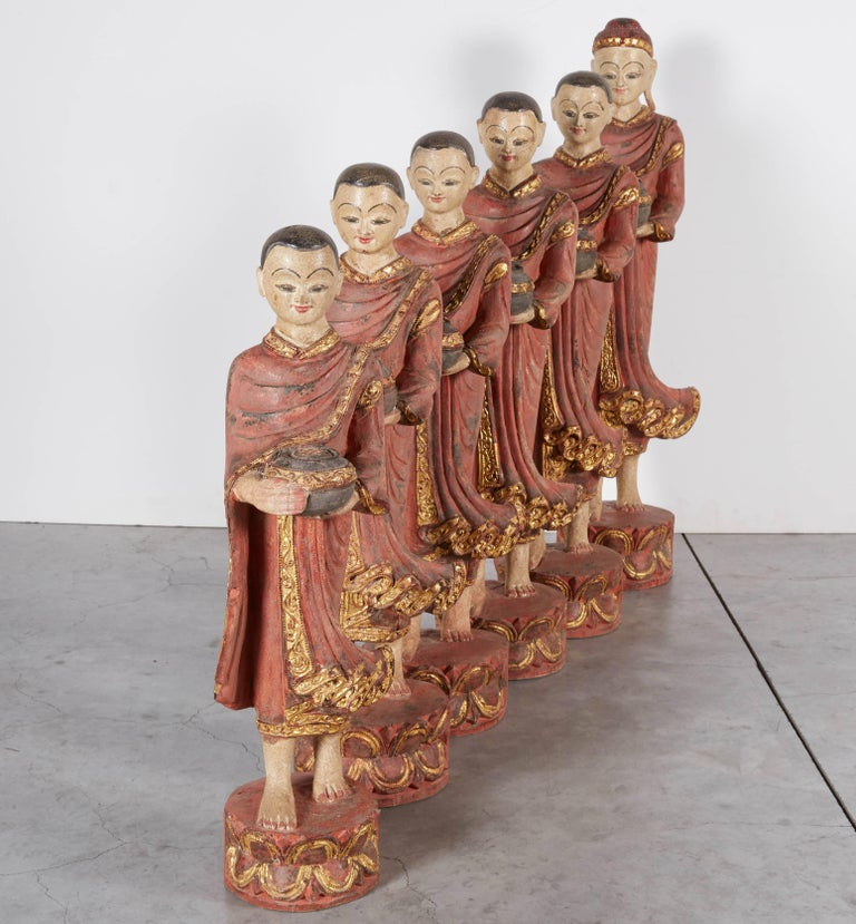 Wood Finely Carved Complete Burmese Buddha and Monk Set For Sale