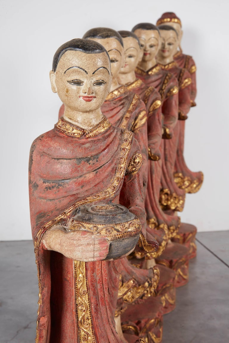 Finely Carved Complete Burmese Buddha and Monk Set For Sale 1