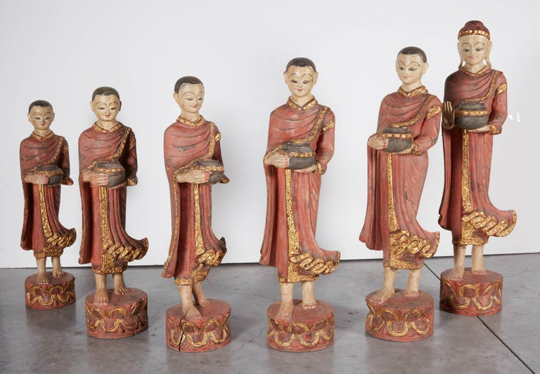 Finely Carved Complete Burmese Buddha and Monk Set For Sale 3