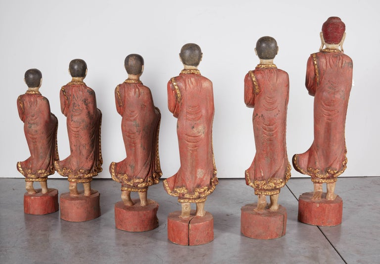 Finely Carved Complete Burmese Buddha and Monk Set For Sale 4