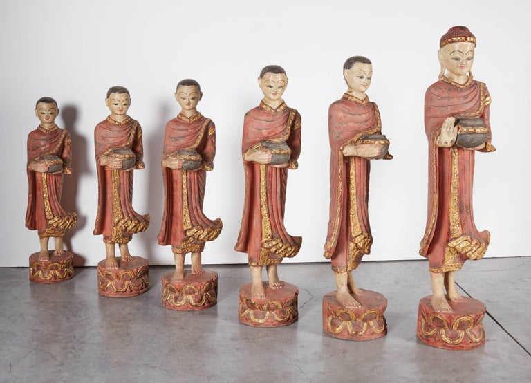 Finely Carved Complete Burmese Buddha and Monk Set For Sale 5