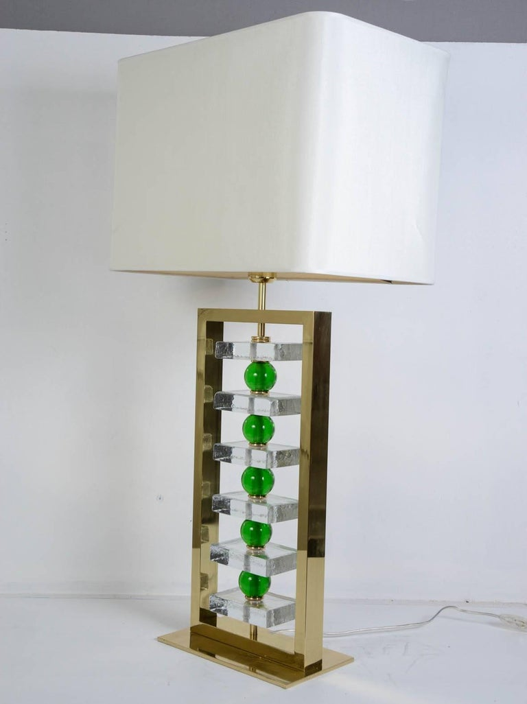 Late 20th Century Pair of Murano Glass Lamps For Sale