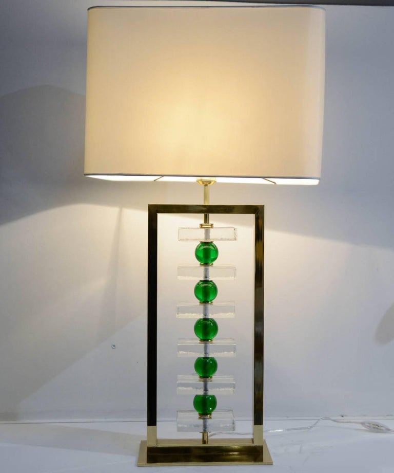 Brass Pair of Murano Glass Lamps For Sale