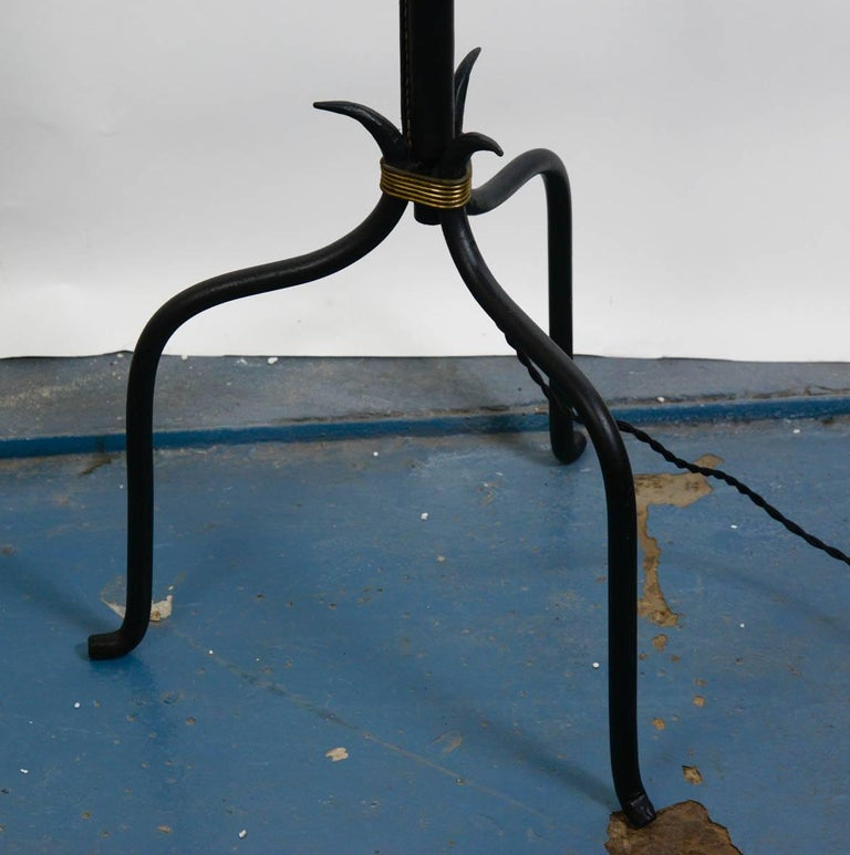1950s stitched leather floor lamp Dimensions given without shade No shade provided.