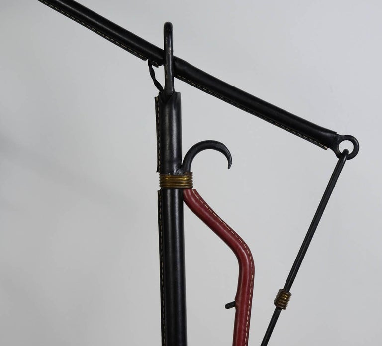 Stitched Leather Floor Lamp by Jacques Adnet In Excellent Condition For Sale In Paris Saint Ouen, FR