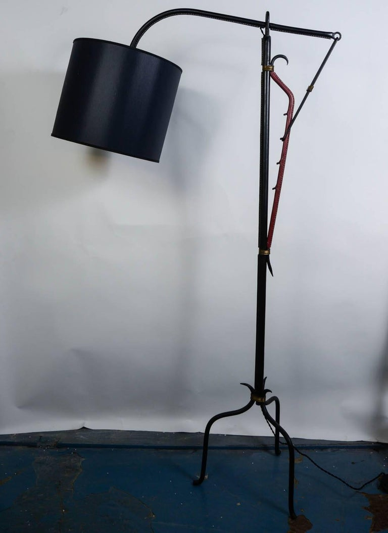 Mid-20th Century Stitched Leather Floor Lamp by Jacques Adnet For Sale