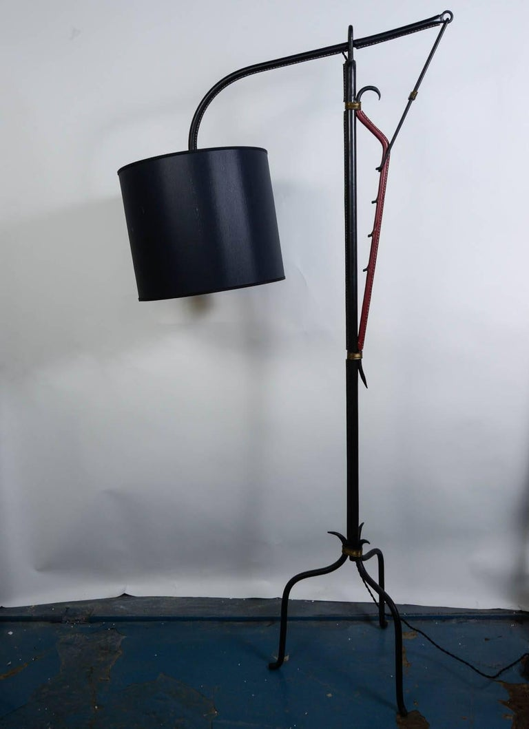 Stitched Leather Floor Lamp by Jacques Adnet For Sale 1