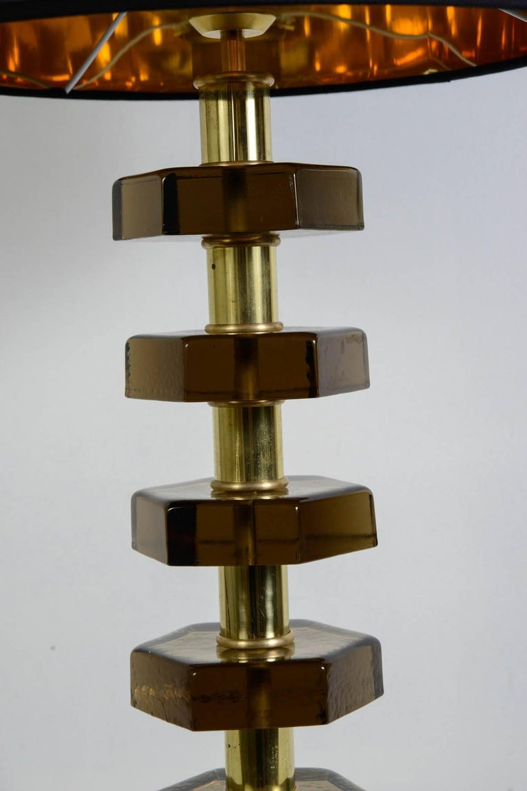 French Pair of Lamps in the Style of Jacques Adnet For Sale