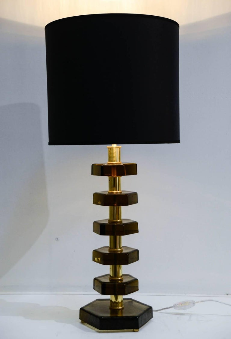 Late 20th Century Pair of Lamps in the Style of Jacques Adnet For Sale