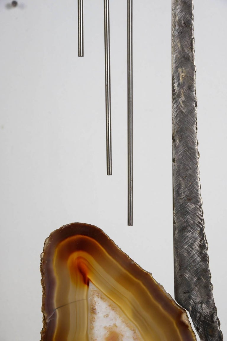 One of a Kind Brutalist Sculpture with Agate In Excellent Condition For Sale In Paris Saint Ouen, FR