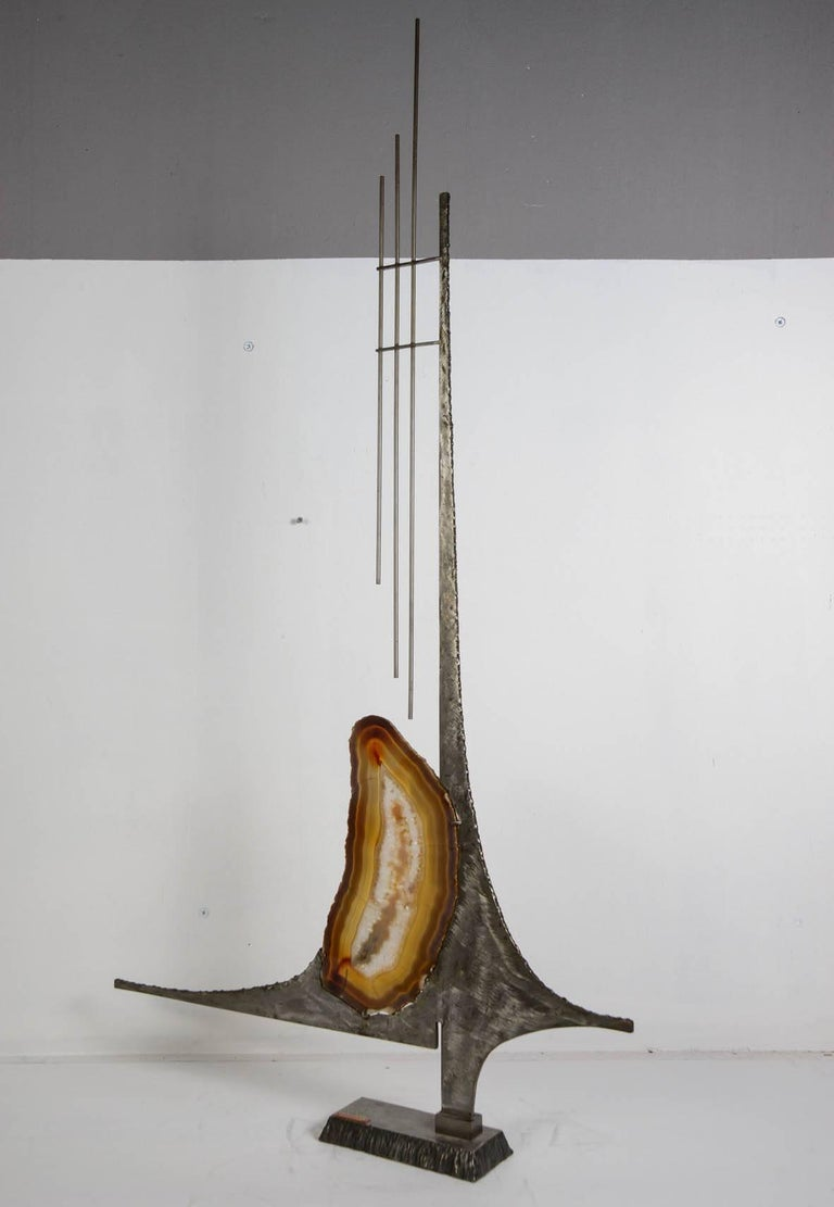 Late 20th Century One of a Kind Brutalist Sculpture with Agate For Sale