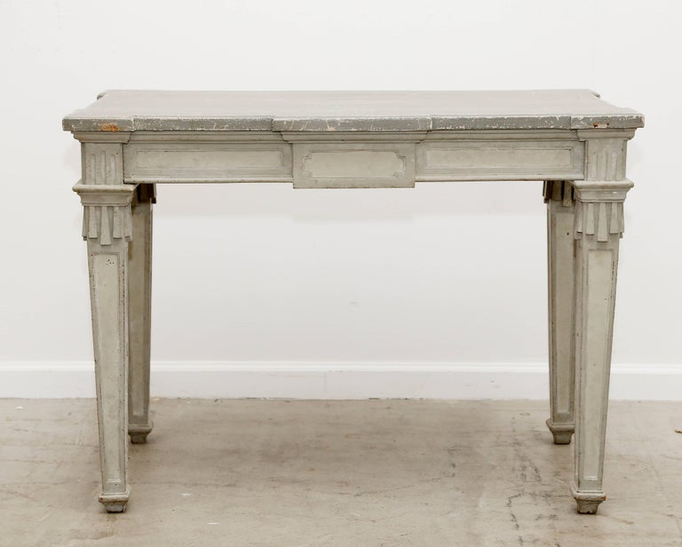 Wood Antique Swedish Period Gustavian Painted Console Table Early 19th Century For Sale