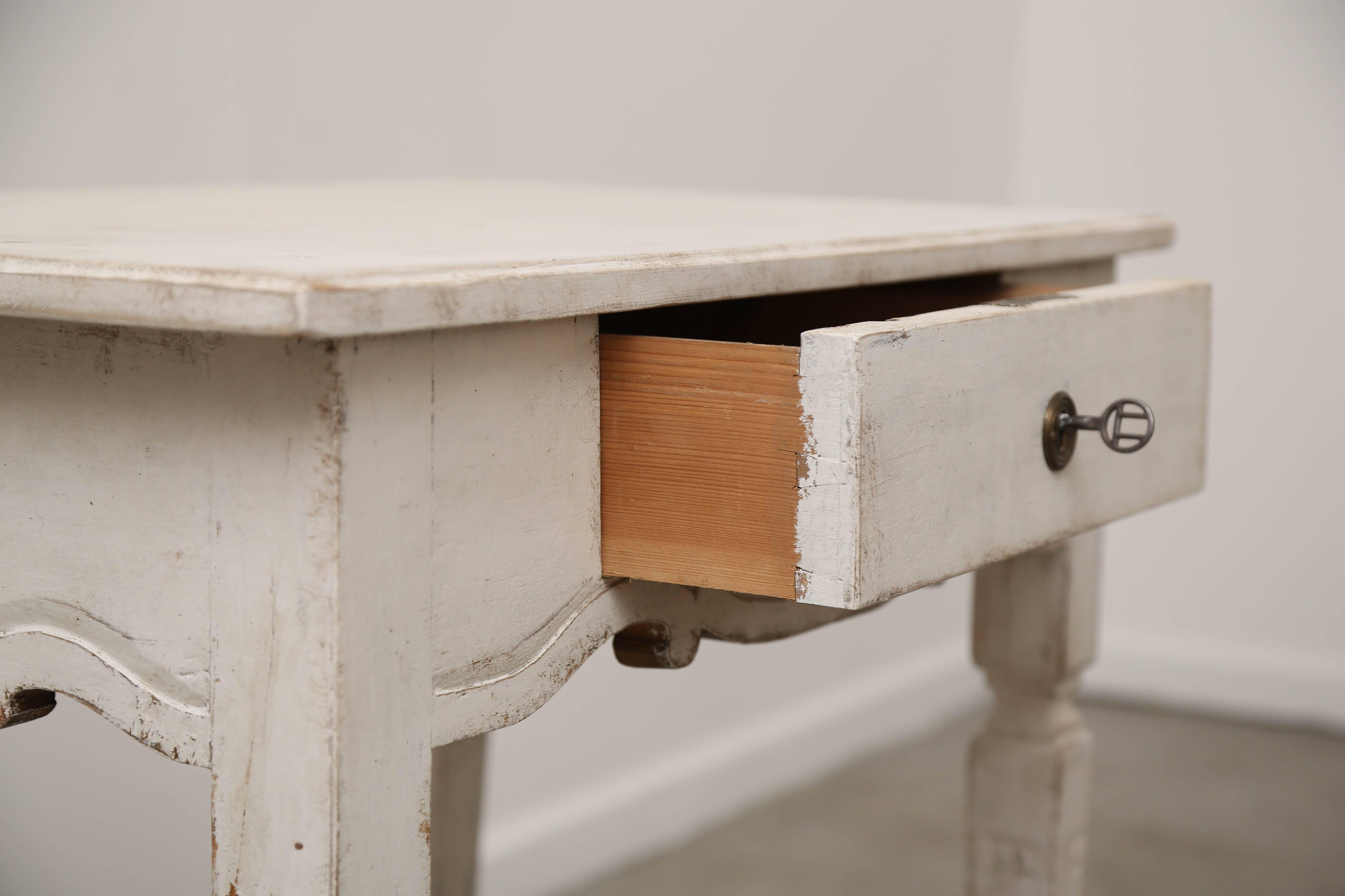 Antique Gustavian Style Painted Side Table With Single Drawer, 19th Century  Distressed And Refreshed Gustavian