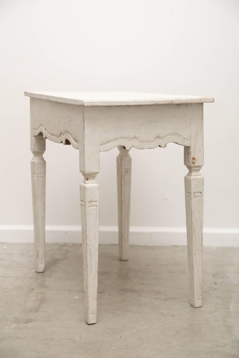 Swedish Antique Gustavian Style Painted Side Table With Single Drawer 19th Century For