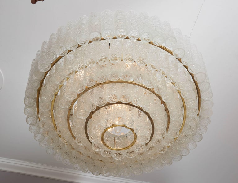Glass Vintage Four-Tier Doria Pendant Chandelier For Sale