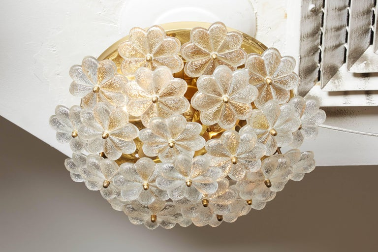 Mid-20th Century Vintage Daisy Floral Glass Flush Mount For Sale