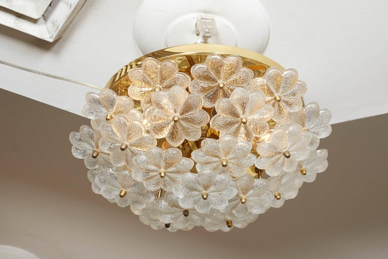 Brass Vintage Daisy Floral Glass Flush Mount For Sale