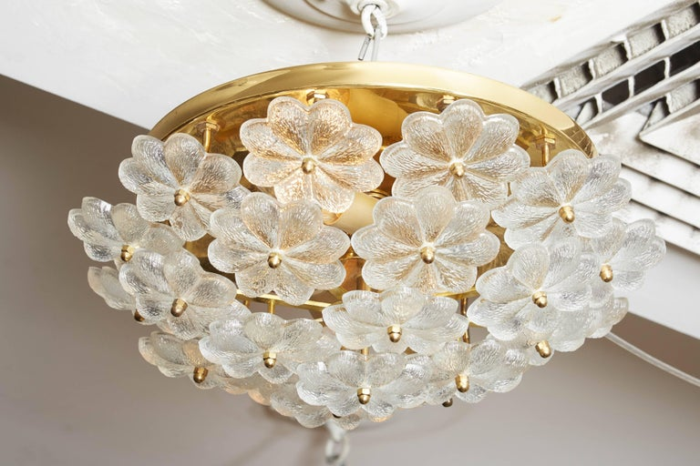 Vintage Daisy Floral Glass Flush Mount For Sale 3