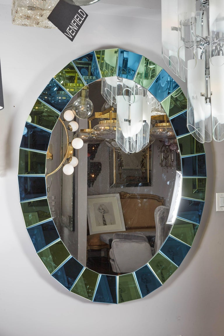 Custom Oval Mirror with Blue and Green Beveled Mirror Squares Surround 2