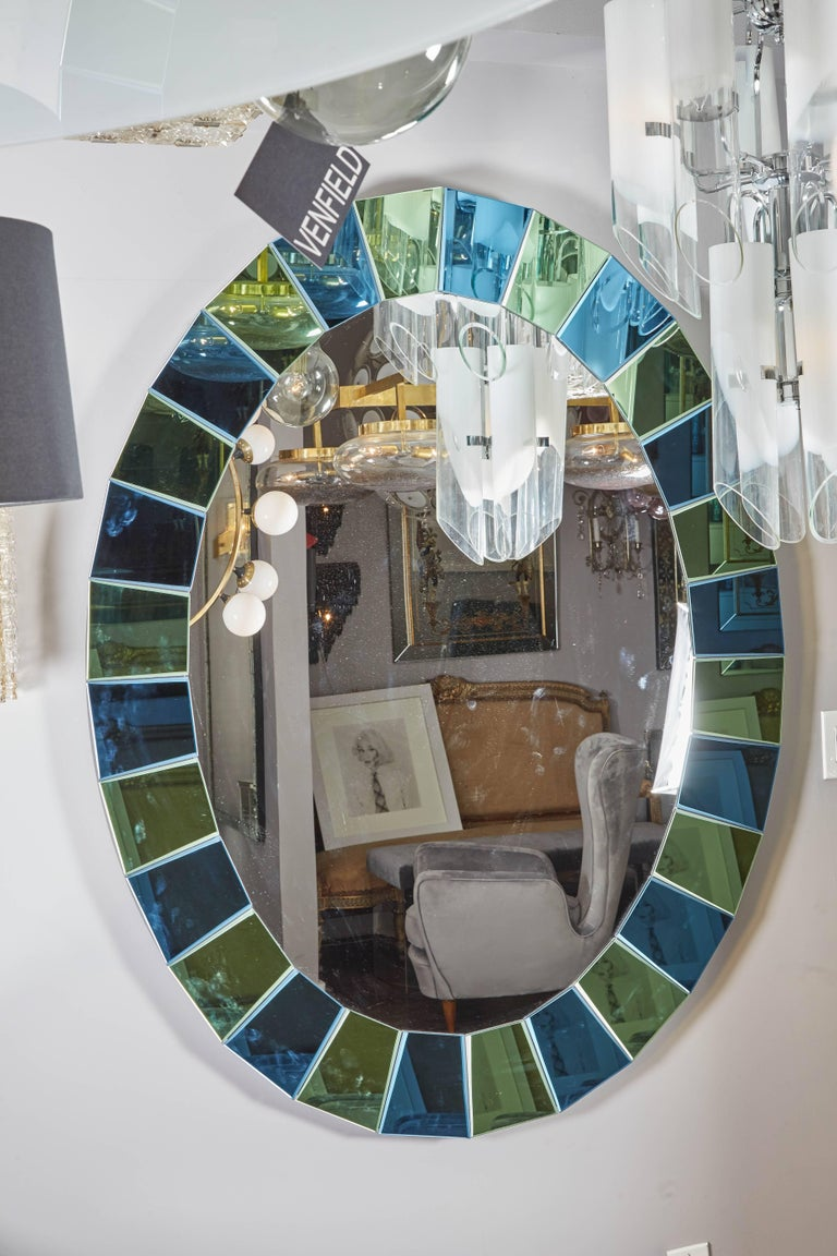 Mid-Century Modern Custom Oval Mirror with Blue and Green Beveled Mirror Squares Surround For Sale
