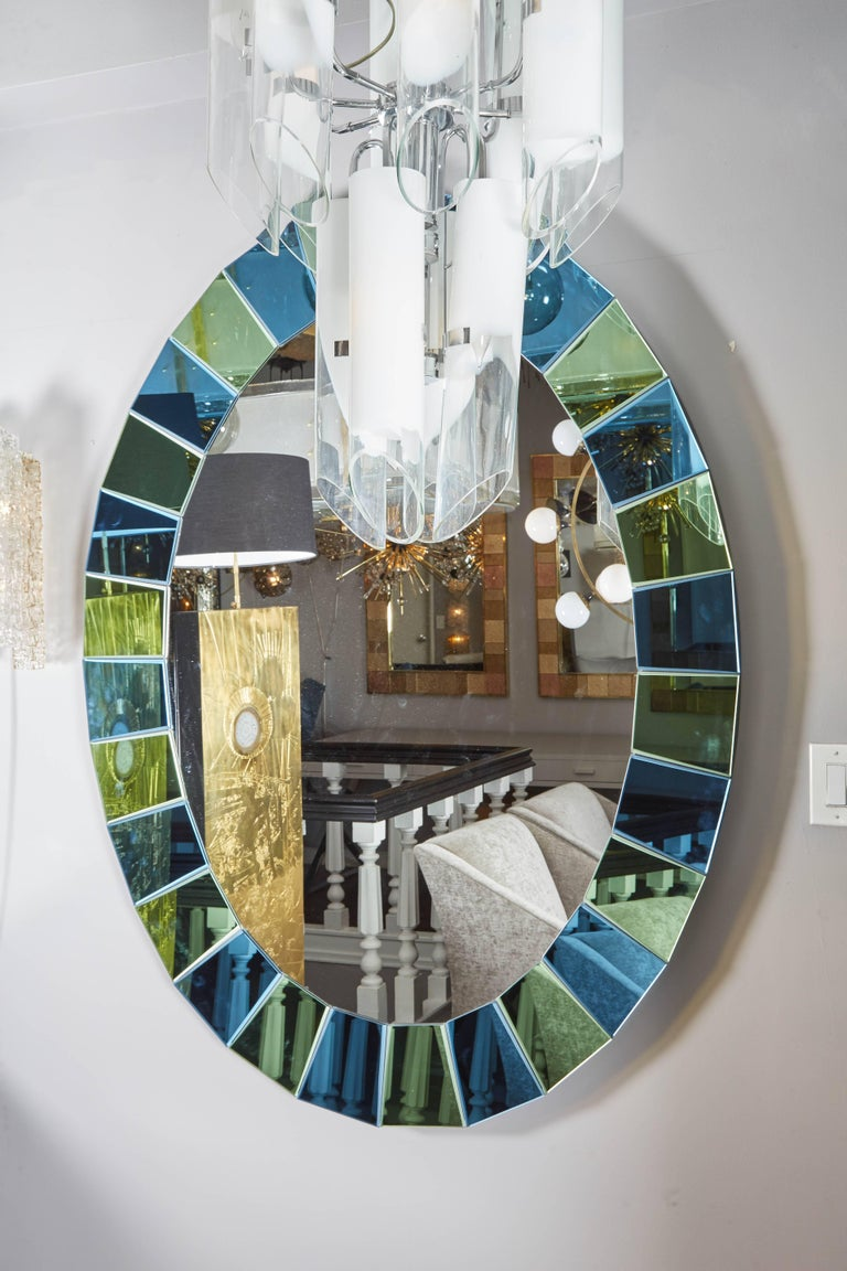 Custom Oval Mirror with Blue and Green Beveled Mirror Squares Surround In Excellent Condition For Sale In New York, NY