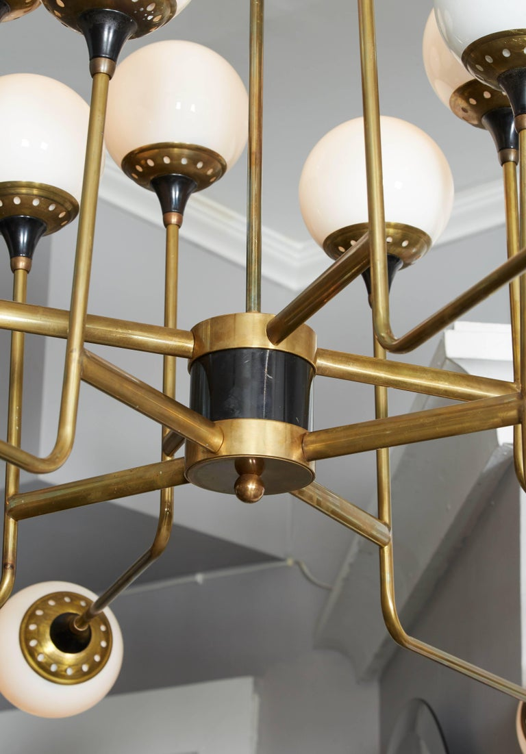 Brass Vintage Stilnovo Chandelier For Sale