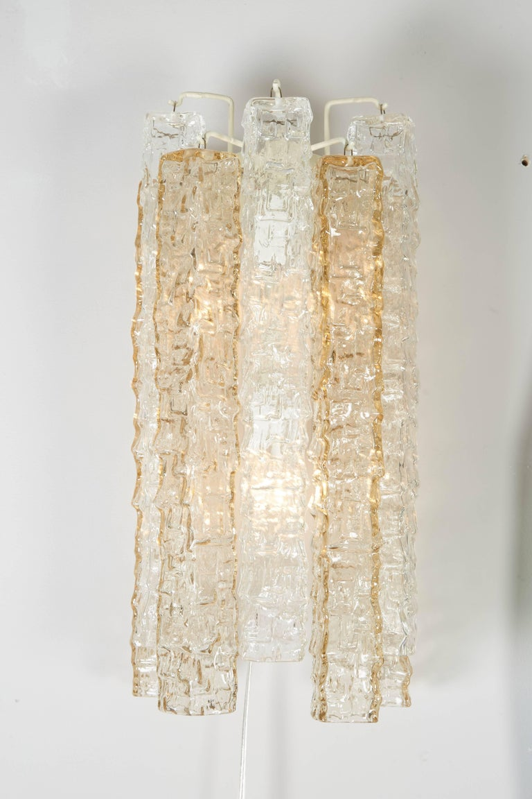 Mid-Century Modern Pair of Venini Smoke and Clear Rectangular Glass Sconces For Sale