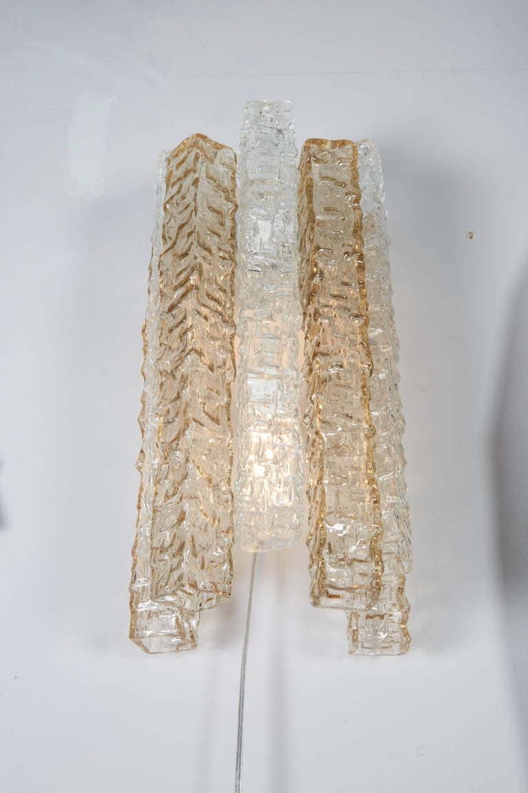 Italian Pair of Venini Smoke and Clear Rectangular Glass Sconces For Sale