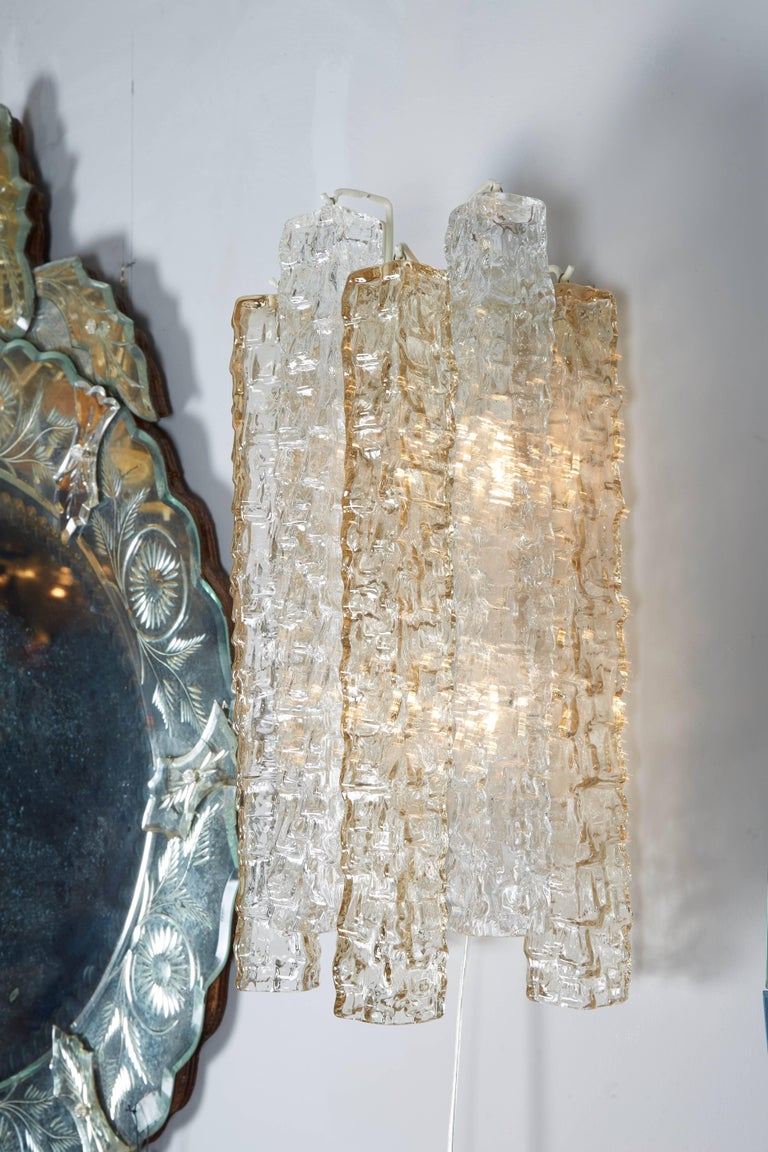 Pair of Venini Smoke and Clear Rectangular Glass Sconces In Excellent Condition For Sale In New York, NY