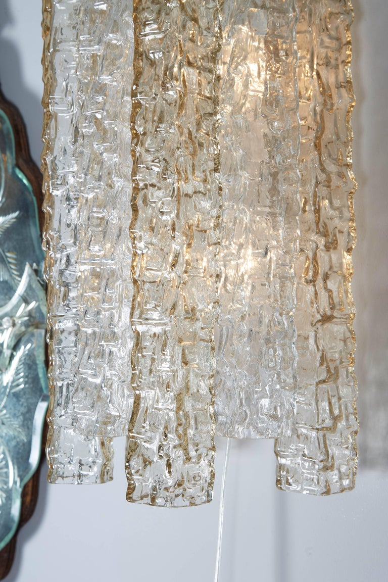 Late 20th Century Pair of Venini Smoke and Clear Rectangular Glass Sconces For Sale