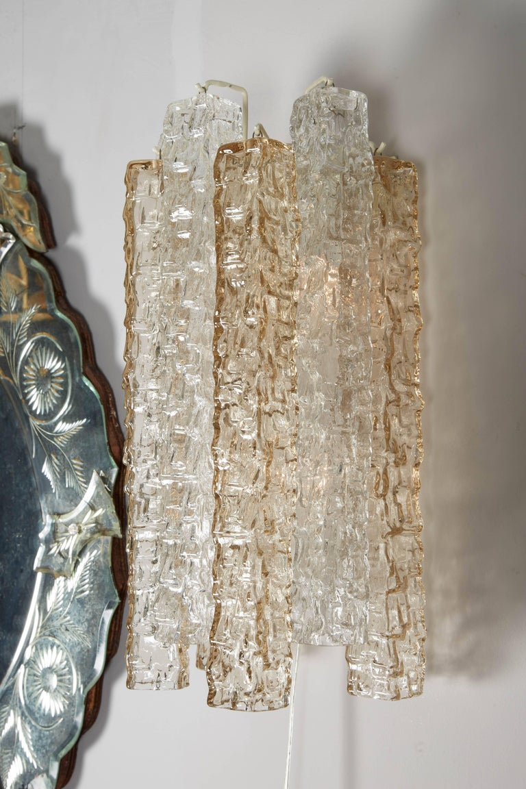Murano Glass Pair of Venini Smoke and Clear Rectangular Glass Sconces For Sale